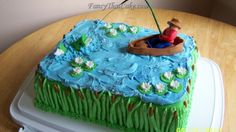 pics of fishing grooms cakes | ... birthday cakes men s birthday cakes tags fish fishing scene cake