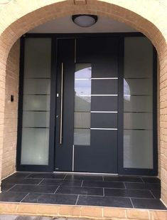 CMS Front doors supplied & installed by our own team of fitters including RK Door Systems, Hormann front doors and Endurance composite doors Modern Exterior Doors, House Doors, External Doors, Exterior Front Doors, Entry Doors, Grey Front Doors, Exterior Door Designs, House Front Design, Doors