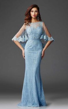 Clarisse - Lace Capelet Shimmering Evening Gown in Blue Robes D'occasion, Dress Pesta, Lace Evening Gowns, Bride Gowns, Gowns Online, Designer Gowns, Groom Dress, Look Chic, Formal Gowns