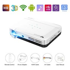WOWOTO H8 Video Projector,3D DLP Projector 1280x800 Support 1080P Full HD , Android 4.4 OS , with Keystone, HDMI, WIFI & Bluetooth