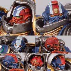 All the different styles of helmet including the different Ranks for my Iron Ravens. #ironravens #primaris #paintingwarhammer #painting #wargames #warhammer #warhammer40k #40k #spacemarines #citadel #citadelminiatures #gamesworkshop #ravenguard