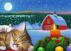 Kitten cat mouse Christmas candle window barn moon original aceo painting art #Miniature