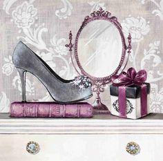 Fashionably Gifted Canvas Art - Angela Staehling x Images Victoriennes, Collages D'images, Plum Art, Images Vintage, Moda Vintage, Decoupage Paper, Decoupage Shoes, Shoe Art, Fashion Sketches