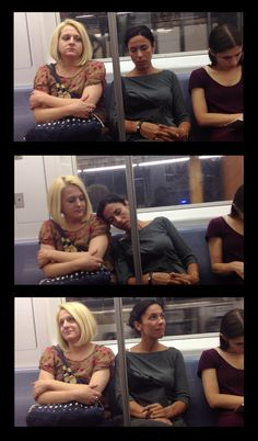 An Artist Pretended To Fall Asleep On Strangers On The Subway And Filmed The Adorable Reactions---I love analyzing the micro-expressions of the people she 'lands' on. I tried pinning the artist's actual site, but it wouldn't let me. It's understandable, as the credits to the photo I pinned would probably be lost over time if it got repinned. I hope the link in here holds up.