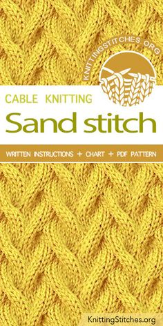 Sand Stitch Pattern is found in the Twist and Cable Stitches category. FREE writ… Sand Stitch Pattern is found in the Twist and Cable Stitches category. Cable Knitting Patterns, Knitting Stiches, Knitting Blogs, Knitting Charts, Crochet Stitches Patterns, Knitting Designs, Knitting Projects, Sewing Patterns, Knit Stitches