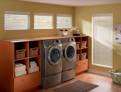 Designed to look like real wood, Bali Composite and Faux Wood Blinds add timeless beauty on a budget.  #blinds #fauxwood #wood #homeimprovement #washerdryer #room #home #windowtreatments