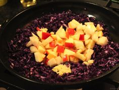 Stir fried red cabbage with quinoa. Used ground coriander instead of cinnamon