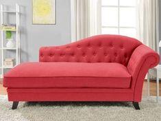 Chaise longue de algodón y lino DIPLOMATIE - Rojo, Amarillo, Verde o Gris