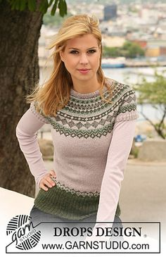 """Ravelry: 122-41 Knitted jumper with short raglan sleeves and Norwegian pattern in """"Alpaca"""" pattern by DROPS design"""