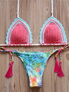 Red Top Leaf Knit Brazilian Bikini Set Swimwear Swimsuit #bikini #swimsuits #swimwear