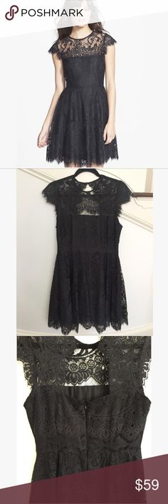 BB Dakota Rhianna Black Illusion Dress LBD Worn once, in used condition, BB Dakota black Rhianna  Illusion Yoke Fit and Flare Lace Dress   Size: 10  Beautiful, delicate Lace dress with Lace cap sleeves and a striking lace cutout little black cocktail dress. Jewel neck, cap sleeve, lightweight, non stretch Lace. Partially lined BB Dakota Dresses Mini