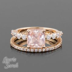2 carat Padparadscha Sapphire 14kt RoseGold Engagement Ring with Diamond Wedding Band – LS3098  | followpics.co