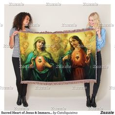 Shop Sacred Heart of Jesus & Immaculate Mary Blanket created by Catoliquisimo.