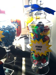Super Hero birthday party red yellow blue kryptonite candy candy buffet Sweethearts & Co. Lapeer Michigan
