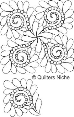 SCF-436 Pearls and Feathers, digitized longarm quilting design by www.quiltersniche.com