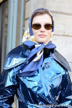 Giedre Dukauskaite leaving Lanvin show, Paris F/W 2018 RtW Fashion Week, February 2018 Hair Wrap Scarf, Hair Scarf Styles, Patent Trench Coats, Head Scarf Tying, Blue Raincoat, Head Accessories, Muslim Girls, How To Wear Scarves, Rain Wear