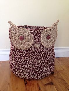 Crochet Owl Basket in Neutral with Wine Color Accent - Large Size. perfect for living room or baby room storage