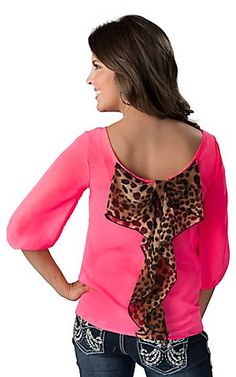 Karlie® Women's Neon Pink with Leopard Bow Back 3/4 Sleeve Fashion Top   Cavender's