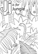 Letter J is for Jungle Coloring page