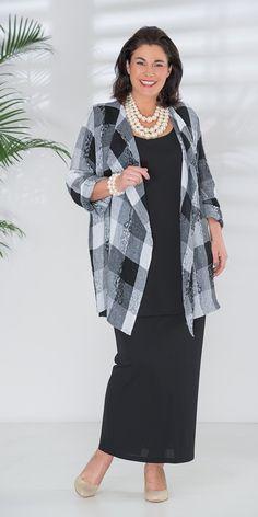 Q'neel+black/white+pattern+linen+jacket,+vest+and+skirt