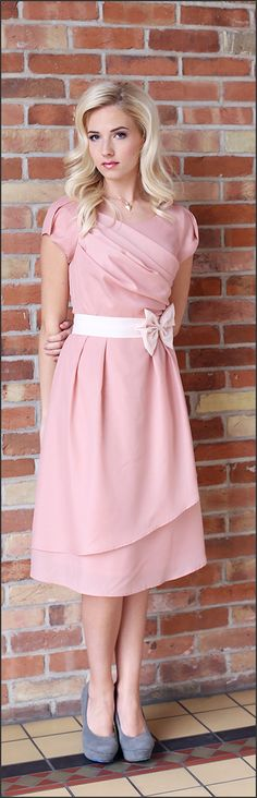 Modest Bridesmaid Dresses/ Jasmine Pink Dress/ www.sierrabrooke.com