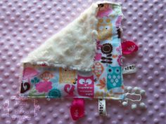FOREST LIFE! Baby Girl 12 x 12 Cuddle TagAlong Blanket  Pink by BucciAndBubba, $21.00