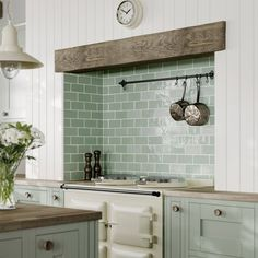 Add character to the heart of the house with our huge range of kitchen tiles, featuring patterned kitchen tiles & stylish splashbacks. Shop the collection now. Sage Green Kitchen, Green Kitchen Interior, Green Kitchen Walls, Sage Green Walls, Küchen Design, Country Kitchen, Home Kitchens, Modern Farmhouse Kitchens, Kitchen Decor