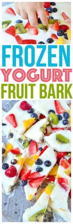 Frozen Yogurt Fruit Bark Mini Chef Mondays Recipe Whole Milk Yogurt, Organic Fresh Fruit, easy healthy snack Healthy Food Dessert Recipe via @CourtneysSweets