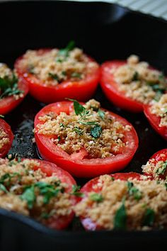 Baked Tomatoes Recipe : Patrick and Gina Neely : Recipes : Food Network Roma Tomato Recipes, Baked Tomato Recipes, Vegetable Recipes, Stuffed Tomato Recipes, Veggie Dishes, Pasta Dishes, Food Dishes, Food Network Recipes, Cooking Recipes
