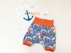 Ahoy Matey Baby Boys Outfit Ahoy Bodysuit and by Stoffenjunkie