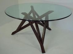 Unusual Center Hall Table with Glass Top Geometric Cross Wood Base Dining Table Base with 60