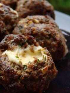Mozarella stuffed giant meatballs. Must make for tailgate season!!