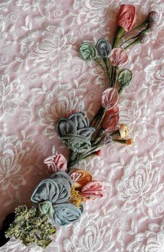 Antique Ribbon Work..silk ribbonwork floral spray.  Pink, blue and peach colored flowers.