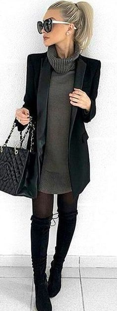 Woman in black cardigan and gray sweater. #SpringOutfits #SpringDress #outfit2018 #Spring #Outfit #women