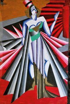 "Aleksandra Ekster (Russian 1882–1949) [Futurism, Cubism, Constructivism, Suprematist] Costume design for Herodiade of ""Salome"" by Oscar Wilde (Aleksandra Ekster)."
