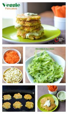 Veggie Pancake Recipe! Breakfast for Busy Kids! - You can have veggie for breakfast, AND have the kids smiling about it! http://www.superhealthykids.com/veggie-pancakes-packing-in-the-veggies-first-thing-in-the-morning/