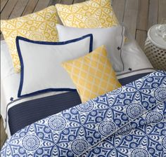 Navy Blue, White, And Yellow Bedroom! Lovely For Guest Room #1.