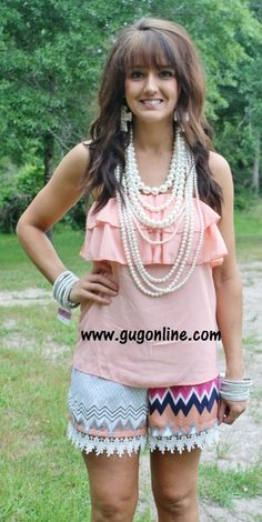 Ruffle Me Up Tube Top in Peach www.gugonline.com $19.95