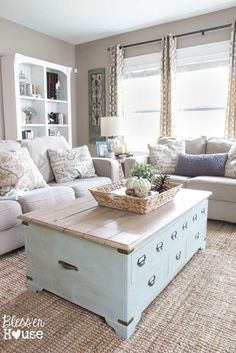 Modern farmhouse style living room ideas - DIY coffee table adds the perfect touch