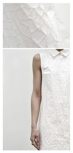 Flexible Cracked Textures - white dress simplicity with textured surface; fashion details // Imogen Houldsworth