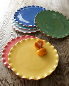 """""""Ruffle"""" Dessert Plates $47.90 - This is a popular texture on fabrics and lends a vintage effect to dinnerware"""