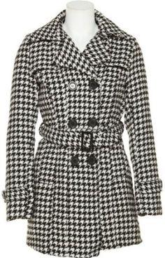 JOU JOU Classic Herringbone Coat W/ Pockets [122-732FT], BLACK/WHITE, MEDIUM Jou Jou. $39.99