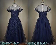 1950s tulle party dress/ sequined lace/ illusion by MidnightMart, $175.00
