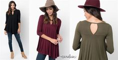 Love the fit of these keyhole tunics! They look great with a pair of skinny's and booties! Only $14.99!