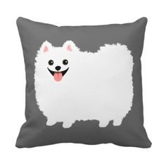 Cute White Pomeranian Throw Pillow - Use this link for coupon codes: https://www.zazzle.com/coupons?rf=238077998797672559