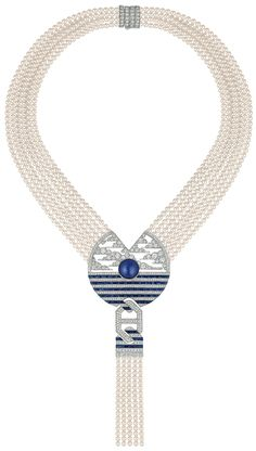 Chanel - Café Society collection - Winter in France - necklace in 18-karat whitegold set with a 17-carat cabochon-cut Ceylan - sapphire, 57 calibrated sapphires for a total weight of 9.9 carats, 44 square-cut diamonds for a total weight of 1.2 carat, 652 brilliant-cut diamonds for a total weight of 9.7 carats and 888 Japanese cultured pearls