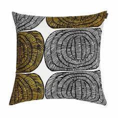 """The name of this pattern means """"beehive"""" in Finnish, and we are buzzing about the abstract honeycombs on this new throw pillow. Marimekko Mehiläispesä White/Yellow Throw Pillow."""
