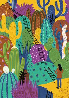 Illustration by Boyoun Kim- Lots of challenges ahead in the future for Plansponsor magazine. Thanks to AD SooJin. Art And Illustration, Posca Art, Cactus Art, Freelance Illustrator, Bunt, Art Inspo, Flower Power, Illustrators, Screen Printing