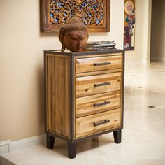 Glendora Natural Stain Solid Wood Four Drawer Storage Dresser