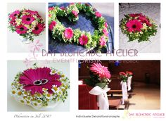 Pinke Gerbera - Ringkissen Floral Wreath, Pink, Wreaths, Table Decorations, Home Decor, White Weddings, Flower Jewelry, Two Hearts, Decorations